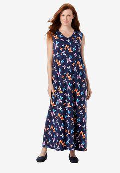 Sleeveless V-Neck Dress,