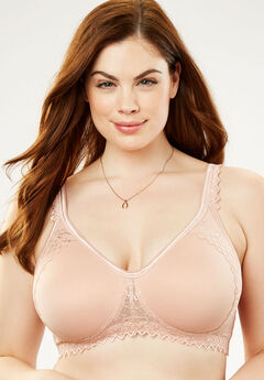 Wireless Lace-Trim T-Shirt Bra by Comfort Choice®, ROSE NUDE