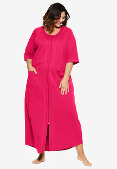 Long French Terry Zip-Front Robe by Dreams & Co.®, RADIANT PINK