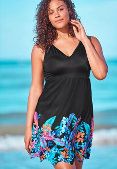 Floral Border Swim Dress ,