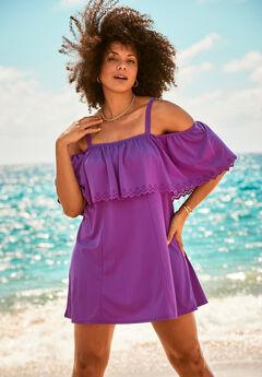Laser-Cut Off-The-Shoulder Swim Dress,