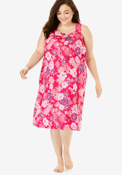 Print Sleeveless Square Neck Lounger by Dreams & Co.®, RADIANT PINK FLORAL