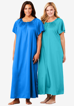 2-Pack Long Silky Gown ,