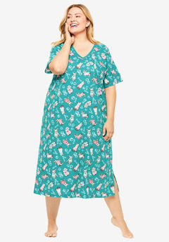 Long Print Sleepshirt by Dreams & Co.®, GREEN TURQUOISE FRENCH BULL DOG