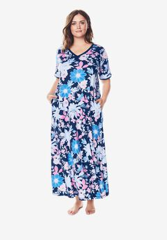 Long T-Shirt Lounger by Dreams & Co.®, EVENING BLUE MULTI FLORAL