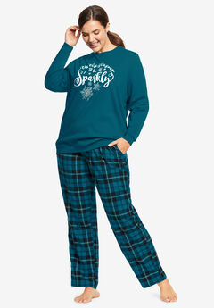 Fleece Sweatshirt Pajama Set by Dreams & Co.®, BLACK TEAL SPARKLY