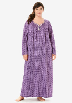 Long Pintucked Sleep Gown by Only Necessities®, RICH VIOLET LEAVES