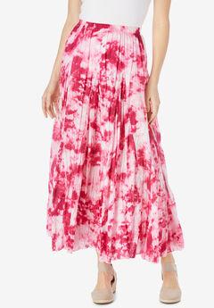 Pull-On Elastic Waist Printed Skirt, RASPBERRY SORBET PRETTY TIE DYE