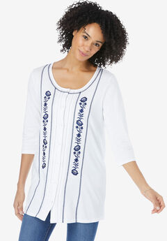 Embroidered Button-Front Tunic,
