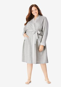 Heathered Knit Robe , HEATHER GREY