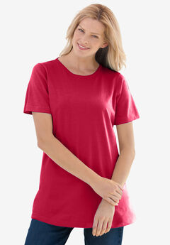 Perfect Short-Sleeve Crewneck Tee, CLASSIC RED