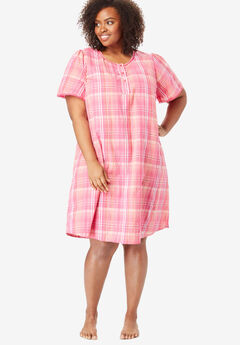 Short Seersucker Henley Nightgown by Dreams & Co.®, PEONY PETAL PLAID