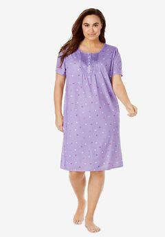 Dreams & Co® Pintuck Cooling Sleepshirt, SOFT IRIS FLORAL DOT