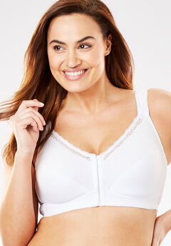 Front-Close Cotton Wireless Posture Bra by Comfort Choice®, WHITE