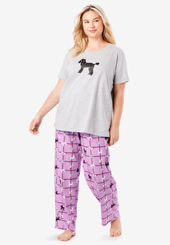 Graphic Tee PJ Set by Dreams & Co®, LIGHT ORCHID POODLES
