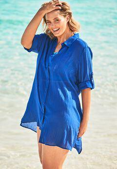 Button-Front Swim Cover Up,