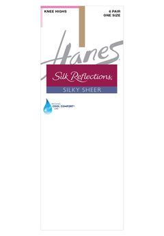 Hanes Silk Reflections Knee Highs, Reinforced Toe 6-Pack,