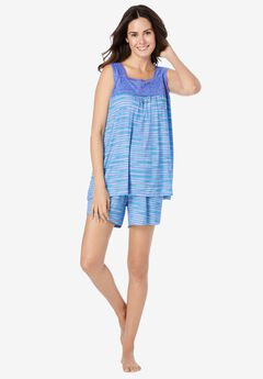Lace-Trim Short Pajama Set ,