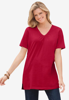 Perfect Short-Sleeve Shirred V-Neck Tunic, CLASSIC RED