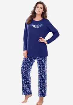 Long Sleeve Knit PJ Set by Dreams & Co.®, EVENING BLUE FLOWERS