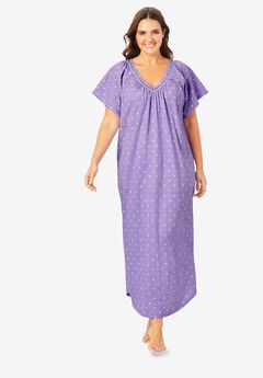 Crochet Trim Flutter Sleeve Gown ,