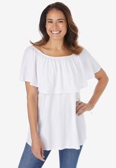 Off-The-Shoulder Ruffled Tee, WHITE
