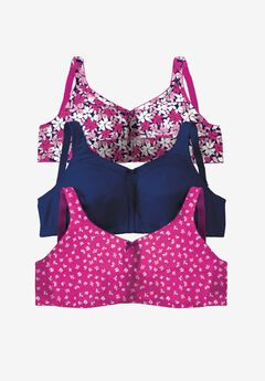 3-Pack Cotton Wireless Bra by Comfort Choice®,