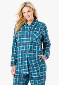 Flannel Snap-Front Pajama Shirt ,