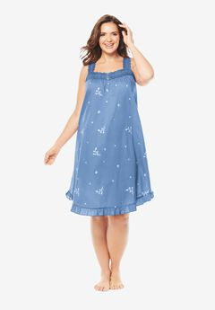 Short Embroidered Nightgown by Dreams & Co.®,