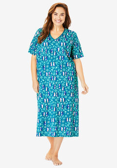Long Print Sleepshirt by Dreams & Co.®, DEEP TEAL PENGUINS