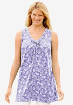 Perfect Printed Sleeveless Shirred V-Neck Tunic,