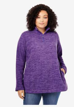 Microfleece Quarter-Zip Pullover, PLUM BURST MARLED