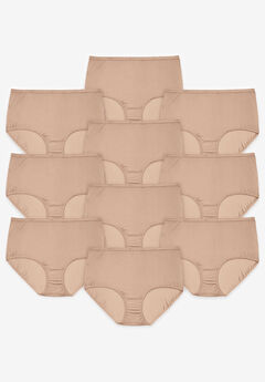 10-Pack Nylon Full-Cut Brief by Comfort Choice®, NUDE PACK