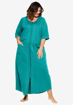 Long French Terry Zip-Front Robe by Dreams & Co.®, WATERFALL