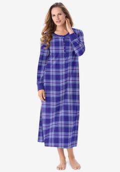 Thermal Henley Sleepshirt , ULTRA BLUE PLAID