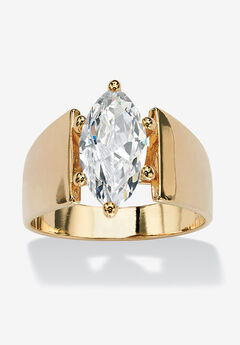 Yellow Gold Plated Cubic Zirconia Solitaire Engagement Ring,