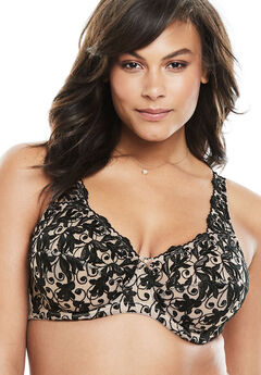 Embroidered Underwire Bra , LIGHT TAUPE BLACK