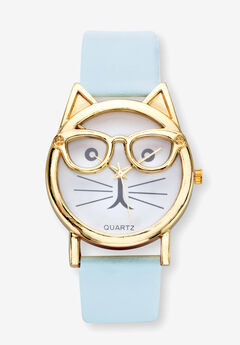 """Gold Tone Bowtie Cat Watch with Adjustable Light Blue Strap, 8"""","""