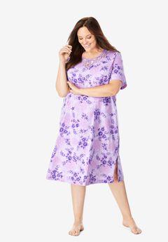 Lace-Trim Sleepshirt , SOFT IRIS PAINTED FLORAL