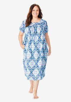 Short Print Shirred Lounger , EVENING BLUE MOSAIC