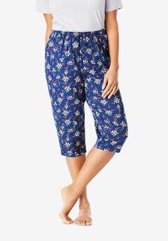 Knit Sleep Capri , EVENING BLUE FLOWER