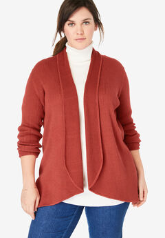 Rib Knit Open Front Cardigan Sweater, RED OCHRE