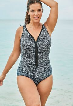 Zip-Front One Piece with Front Zipper by Swim 365,