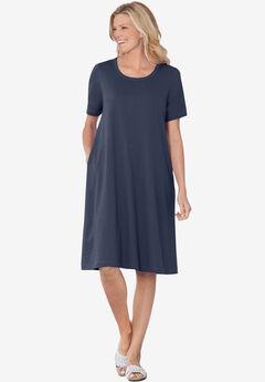 Short-Sleeve Crewneck Tee Dress, NAVY