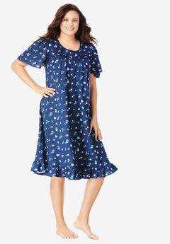 Short Floral Print Cotton Gown by Dreams & Co.®, EVENING BLUE FLOWERS