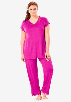 Lace Trim Pajama Set by Amoureuse®,