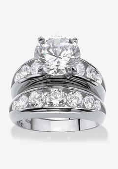 Silvertone Round Cubic Zirconia 2-Piece Channel Set Bridal Ring Set,