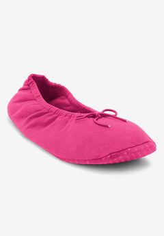 Knit Ballerina Slippers by Dreams & Co.®, RASPBERRY SORBET