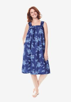 Print Sleeveless Square Neck Lounger by Dreams & Co.®, ULTRA BLUE BOUQUET