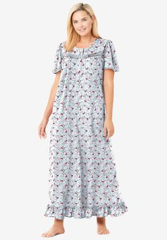 Long Floral Print Cotton Gown , CLASSIC RED CARDINALS